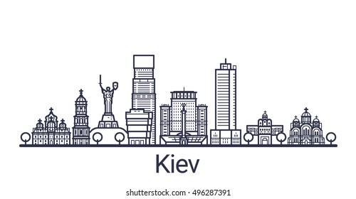 Linear banner of Kiev city. All Kiev buildings - customizable objects with opacity mask, so you can simple change composition and background fill. Line art.