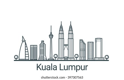 Linear banner of Kuala Lumpur city. All buildings - customizable different objects with background fill, so you can change composition for your project. Line art.