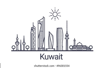 Linear banner of Kuwait city. All Kuwait buildings - customizable objects with opacity mask, so you can simple change composition and background fill. Line art.