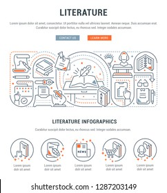 Linear banner of the literature. Vector linear icons for web sites and applications.