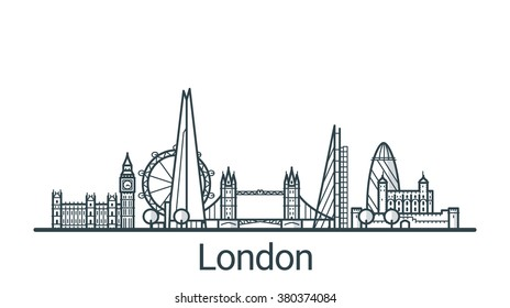 Linear banner of London city. All buildings - customizable different objects with background fill, so you can change composition for your project. Line art.