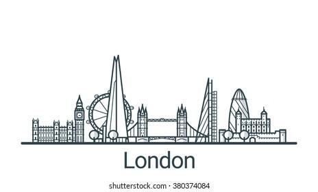 Lineares Banner der Stadt London. Alle Gebäude - individuell anpassbare Objekte mit Hintergrundfüllung, sodass Sie die Komposition für Ihr Projekt ändern können. Line Art.