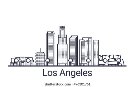Linear banner of Los Angeles city. All Los Angeles buildings - customizable objects with opacity mask, so you can simple change composition and background fill. Line art.