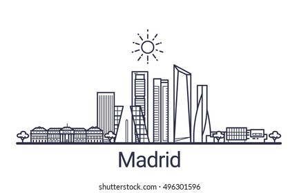 Linear banner of Madrid city. All Madrid buildings - customizable objects with opacity mask, so you can simple change composition and background fill. Line art.