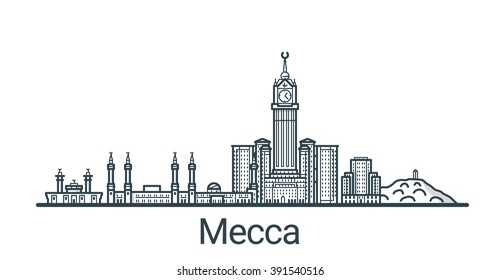 Linear banner of Mecca city. All buildings - customizable different objects with background fill, so you can change composition for your project. Line art.