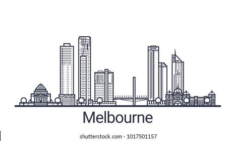 Linear banner of Melbourne city. All buildings - customizable different objects with clipping mask, so you can change background and composition. Line art.