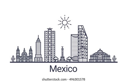 Linear banner of Mexico city. All Mexico buildings - customizable objects with opacity mask, so you can simple change composition and background fill. Line art.