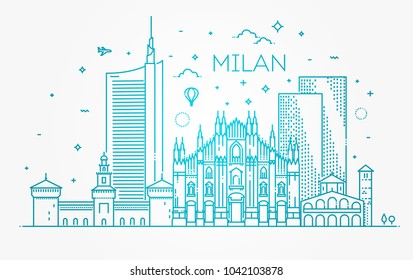 Linear banner of Milan city
