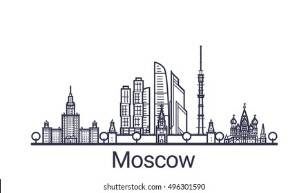 Linear banner of Moscow city. All Moscow buildings - customizable objects with opacity mask, so you can simple change composition and background fill. Line art.