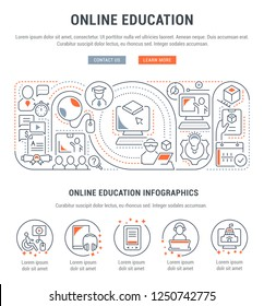 Linear banner of the online education. Icons for websites and applications.