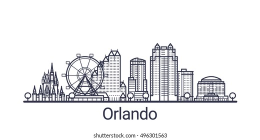 Linear banner of Orlando city. All Orlando buildings - customizable objects with opacity mask, so you can simple change composition and background fill. Line art.