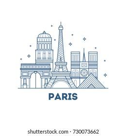 Linear banner of Paris city.