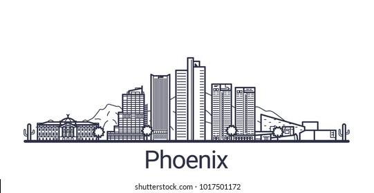 Linear banner of Phoenix city. All buildings - customizable different objects with clipping mask, so you can change background and composition. Line art.