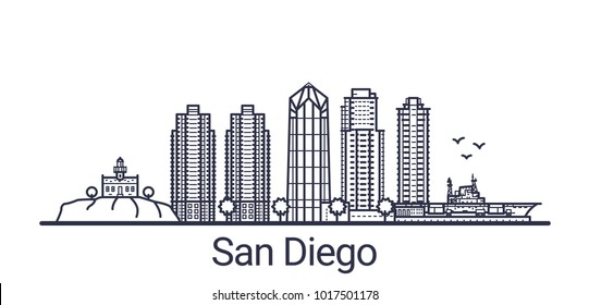 Linear banner of San Diego city. All buildings - customizable different objects with clipping mask, so you can change background and composition. Line art.