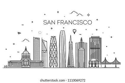 Linear banner of San Francisco city. Vector illustration