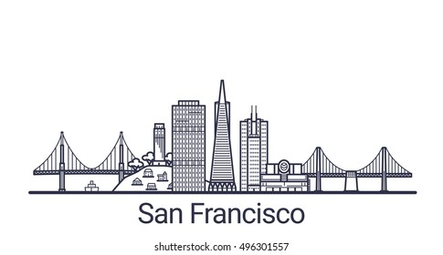 Linear banner of San Francisco city. All San Francisco buildings - customizable objects with opacity mask, so you can simple change composition and background fill. Line art.