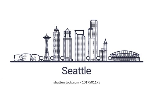 Linear banner of Seattle city. All buildings - customizable different objects with clipping mask. Line art.