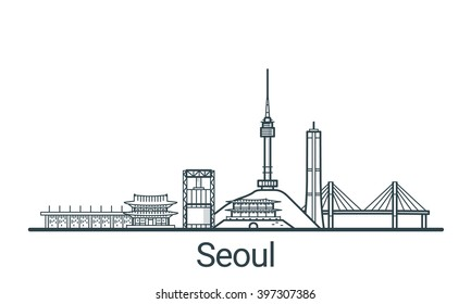 Linear banner of Seoul city. All buildings - customizable different objects with background fill, so you can change composition for your project. Line art.