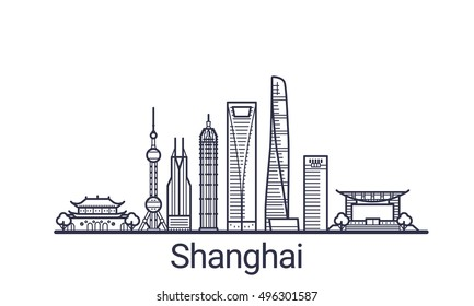 Linear banner of Shanghai city. All Shanghai buildings - customizable objects with opacity mask, so you can simple change composition and background fill. Line art.