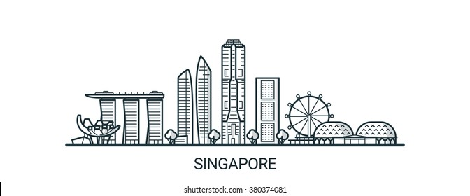 Linear banner of Singapore city. All buildings - customizable different objects with background fill, so you can change composition for your project. Line art.