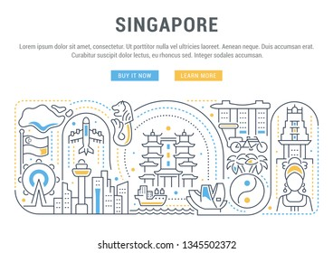 Linear banner of Singapore. Icons of country attractions for card and web sites.