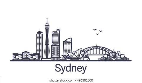 Linear banner of Sydney city. All Sydney buildings - customizable objects with opacity mask, so you can simple change composition and background fill. Line art.