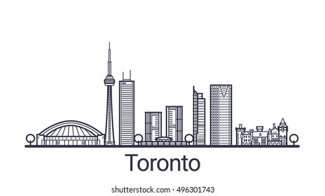 Linear banner of Toronto city. All Toronto buildings - customizable objects with opacity mask, so you can simple change composition and background fill. Line art.