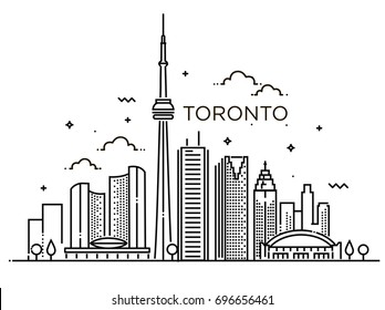 Linear banner of Toronto. Line art