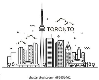 Linear banner of Toronto. Line art
