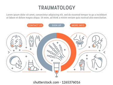 Linear banner of the traumatology. Icons for web sites and applications.