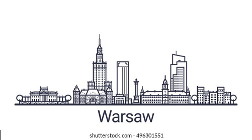Linear banner of Warsaw city. All Warsaw buildings - customizable objects with opacity mask, so you can simple change composition and background fill. Line art.