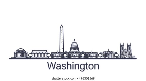 Linear banner of Washington city. All Washington buildings - customizable objects with opacity mask, so you can simple change composition and background fill. Line art.