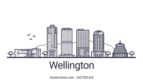 Linear banner of Wellington city. All buildings - customizable different objects with clipping mask, so you can change background and composition. Line art.