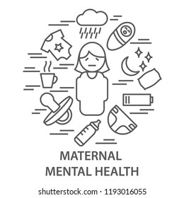 Linear banners for maternal mental health in linear style. Mental health composition vector illustration