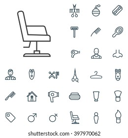 Linear barbershop icons set. Universal barbershop icon to use in web and mobile UI, barbershop basic UI elements set