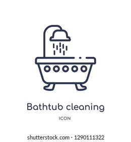 Linear bathtub cleaning icon from Cleaning outline collection. Thin line bathtub cleaning vector isolated on white background. bathtub cleaning trendy illustration