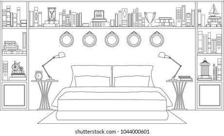 Linear bedroom. Vector illustration. Sketch of a bedroom with furniture racks and books.