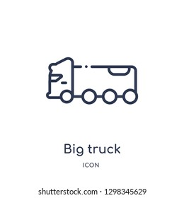 Linear big truck icon from Mechanicons outline collection. Thin line big truck icon isolated on white background. big truck trendy illustration