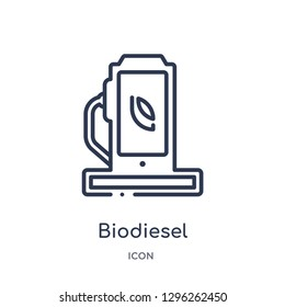 Linear biodiesel icon from Ecology outline collection. Thin line biodiesel icon vector isolated on white background. biodiesel trendy illustration