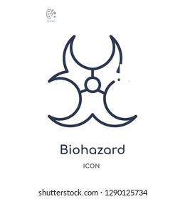 Linear biohazard icon from Chemistry outline collection. Thin line biohazard vector isolated on white background. biohazard trendy illustration