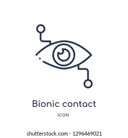 Linear bionic contact lens icon from Crowdfunding outline collection. Thin line bionic contact lens icon vector isolated on white background. bionic contact lens trendy illustration