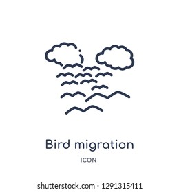 Linear bird migration icon from Autumn outline collection. Thin line bird migration vector isolated on white background.