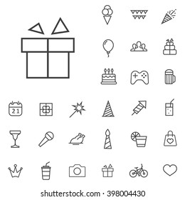 Linear birthday icons set. Universal birthday icon to use in web and mobile UI, birthday basic UI elements set