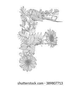 Linear black on white Floral alphabet. Letter F