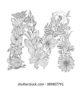 Linear black on white Floral alphabet. Letter M