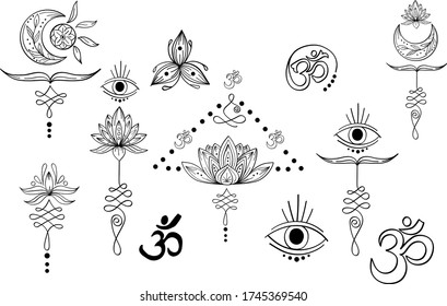 Linear black set of abstract yoga symbol with moon, unalome, eye, lotus, om, triskel. Indian outline yoga illustration. Vector mandala clipart for card, print, packing, poster, tattoo in yoga style
