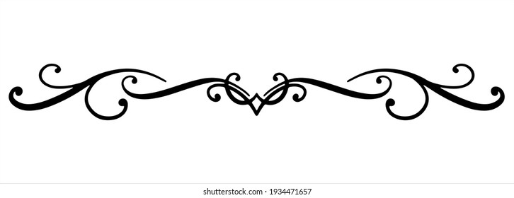 Linear black vector drawing for holidays, Valentine's day, March 8, birthday, mother day. Separator for text with rounded lines, wavy lines, and dots at the end. Romantic pattern for greeting product