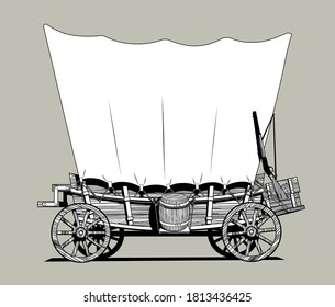 Linear black and white drawing of a Wild West covered wagon. Vector illustration