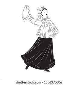 Linear, black and white drawing. A young, beautiful girl in a folk costume and shawl, in a long skirt, sings and dances waving a handkerchief. Isolated image on a white background .Vector graphic.