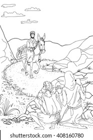 Linear black and white illustration of the parable of the Good Samaritan